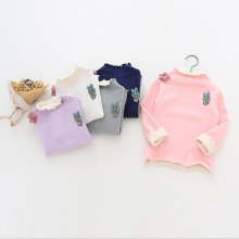 New Winter baby gril base shirt woolen warmth floral children long sleeve thick joker bottoming shirt soft sweat infant clothing