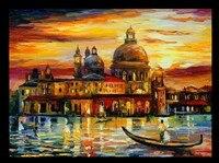 Colorful Oil Painting Scenery Venetian Castle Embroidery Needlework 14CT Unprinted DMC DIY Cross Stitch Kits Handmade