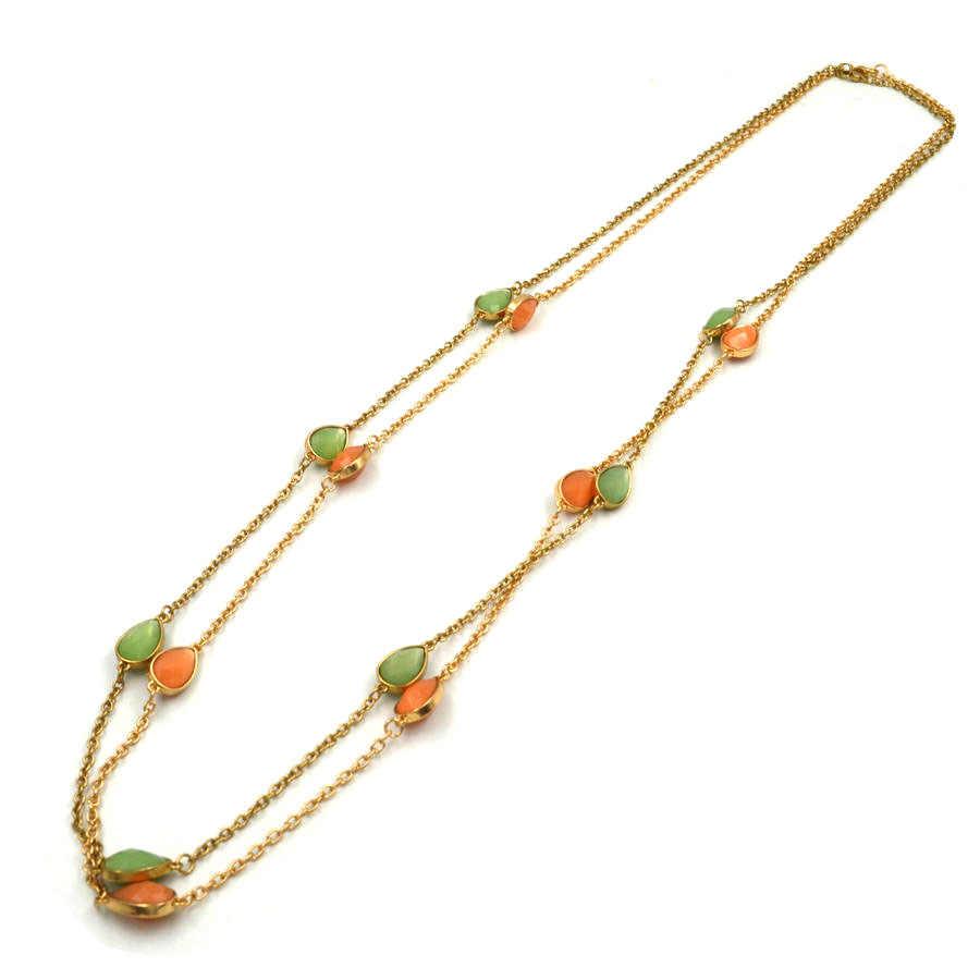 T022 bigbing moda jóias moda verde laranja cristal longo corrente colar moda feminina nacklace moda jóias