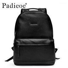 Padieoe Neue Designer Koreanische Stil Männliche Rucksack Luxusmarke Schwarz Echtleder Rucksack Fashion Solid Männer Casual Daypacks