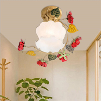 Nordic Garden Metal Plant Leaf American Rustic Rural Iron Rose Flower LED Ceiling Lamp Light Hallway