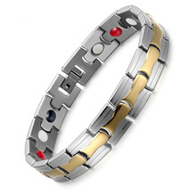 Bracelet Stainless Steel Mens Silver Magnetite Four In One
