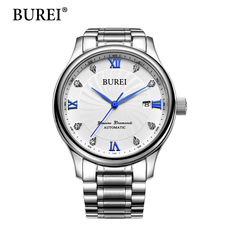 BUREI Men Watch Top Fashion Brand Waterproof Date Display Male Clock Large Dial White Lens Mechanical Wrist Watches New Arrival np shock resistant waterproof watch men 2016 new nylon sport watches ultra slim watchcase men s fashion clock large white dial