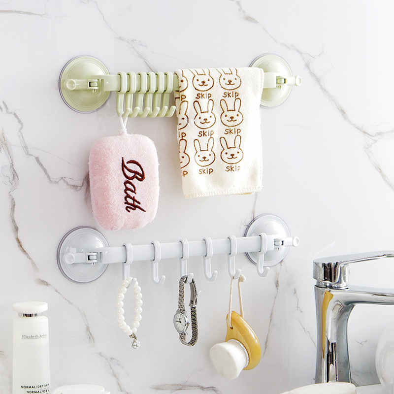 Suction Cup 6 Hooks Movable Seamless Adhesive Bathroom Kitchen Wall Door Hanging For Towl Hats Bags Sundries Storage Holder
