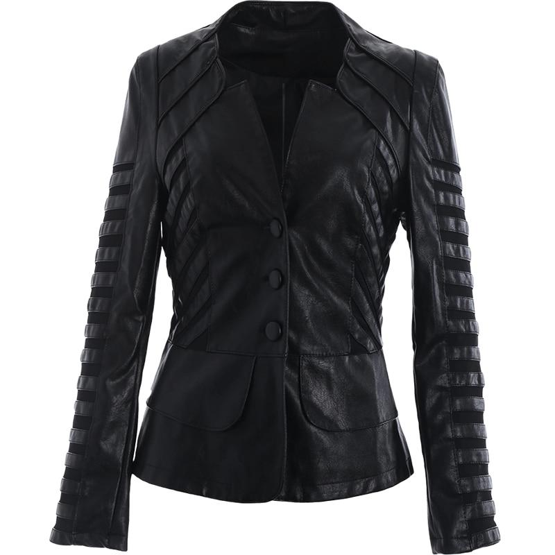 Ailegogo Women 2018 New Autumn Winter   Leather   Jacket Patchwork Long Sleeve black Coat Zipper Design Motorcycle PU Jacket