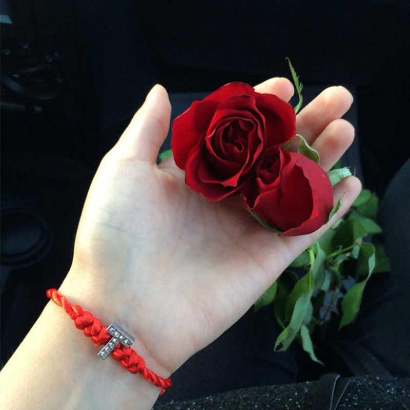 1PC ホット A-Z 26 手紙赤スレッド String 手紙ブレスレット赤ロープチャーム女性ラッキーブレスレット Aolly ジュエリーギフトカップルのための
