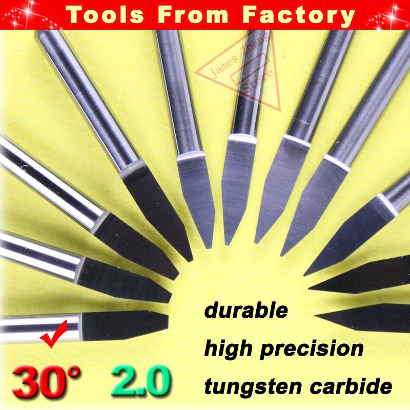 1pcs New Carbide PCB Cutter CNC Engraving Knife Machine Router V Bits 30 Degree 2.0mm HUHAO