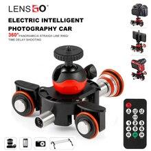 LENSGO Camera Video Track dolly Gemotoriseerde Elektrische Slider Motor Dolly Truck Auto voor Nikon Canon Sony DSLR Camera 3  wiel dolly