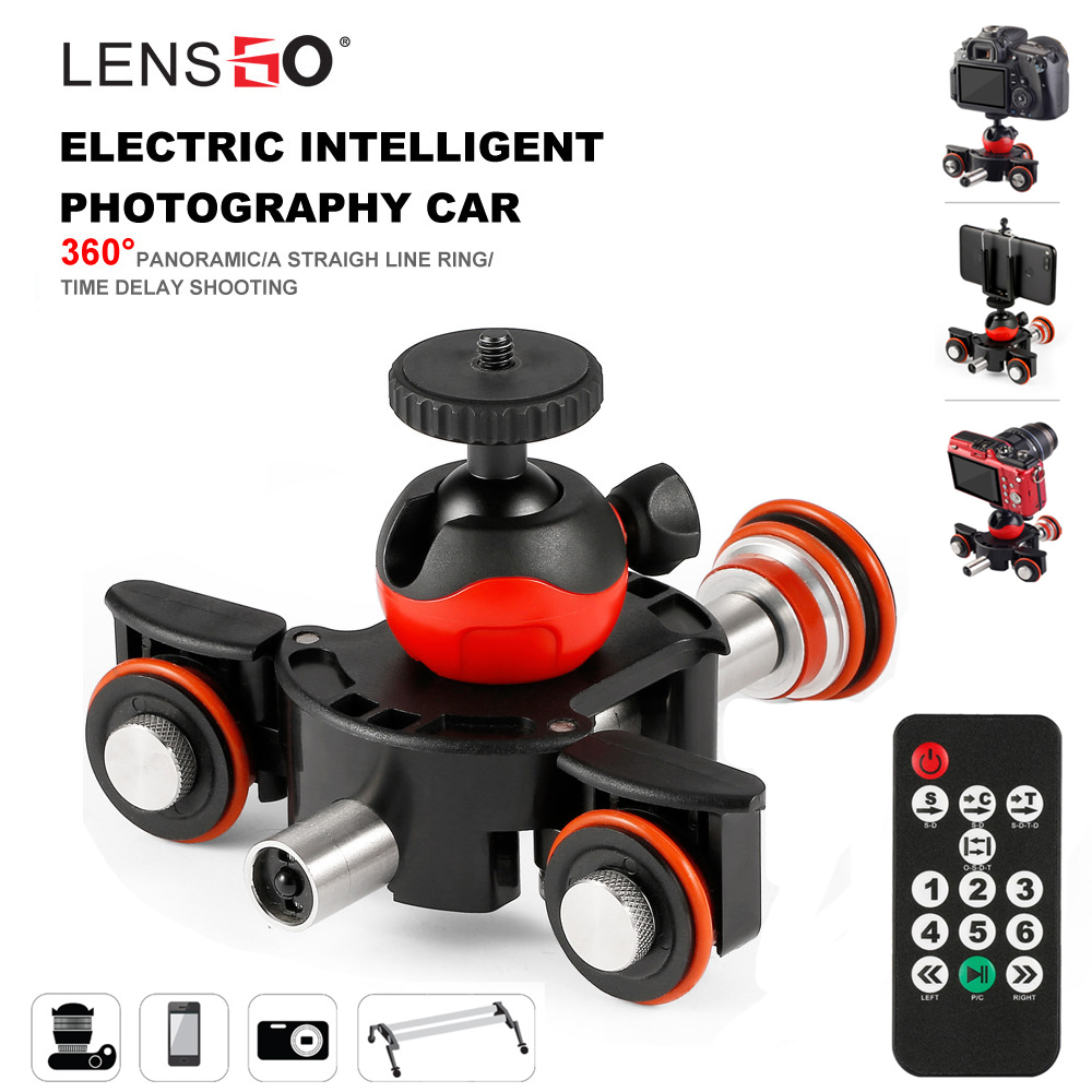 LENSGO Camera Video Track Dolly Motorized Electric Slider Motor Dolly Truck Car For Nikon Canon Sony DSLR Camera 3-wheel Dolly