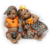 10 inch African kids Baby Doll reborn 27cm Black Girl boy Full Silicone baby doll real doll Ethnic Alive Dolls free shipping