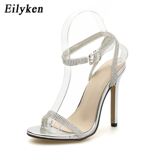 Image 3 - Eilyken Silver Bling Crystal sandali da donna Sexy tacchi alti cinturino con fibbia gladiatore sandali da donna Stiletto matrimonio pietra del reno
