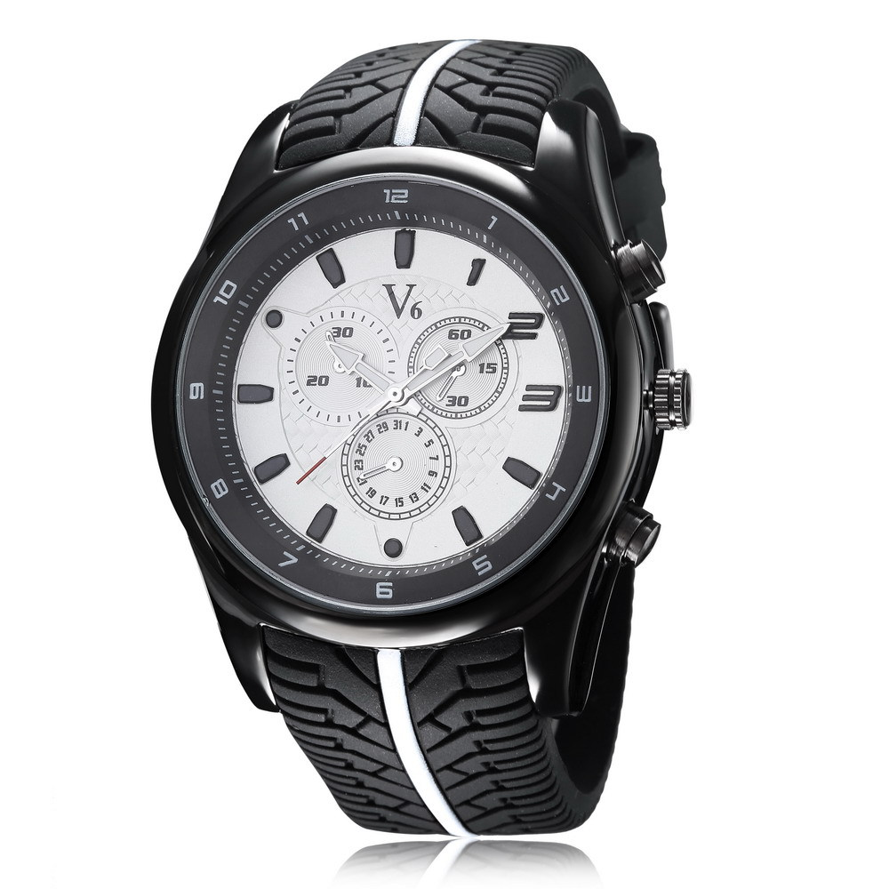 Fashion Men Sports Watches Super Speed V6 Quartz Wristwatch Analog Men Luxury Brand Dial Silicone Strap Relogio Masculino Gift