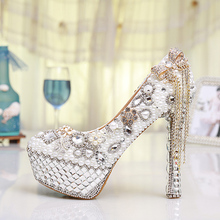 Gorgeous White Ultra High Heels Women's Bridal Dress Shoes Prom Heels  Crystal Rhinestone Bride Shoes Pearl Wedding Pumps Women