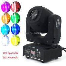 Fast&Free Shipping Moving Head Light 60W LED Spot Light with gobo&color wheel 9/11CHs for Disco DJs Equipmentnt