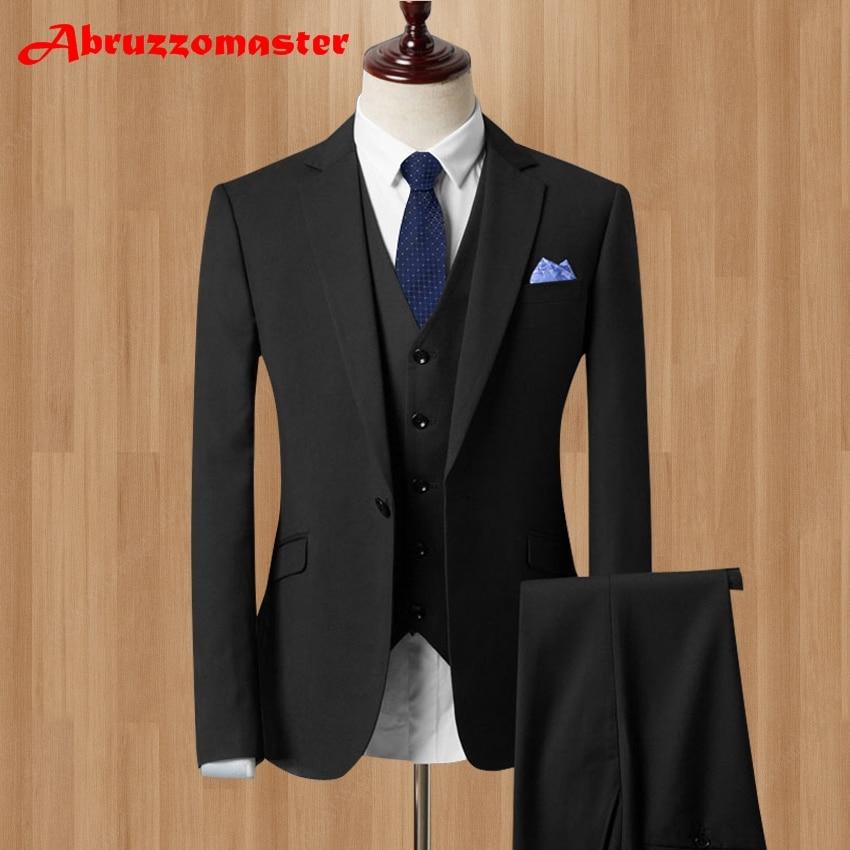 2018 Men Business Suit Slim fit Classic Male Suits Blazers Luxury Terno Masculi Suit Men One Buttons 3 Pieces(jacket+pants+Vest)