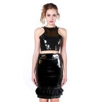 Siyah Deri Lingerie Seksi Vücut Kadınlar PVC Erotik Leotard Kostümler Lateks Bodysuit Catsuit için Takımları kadınlar deri elbiseler w6168