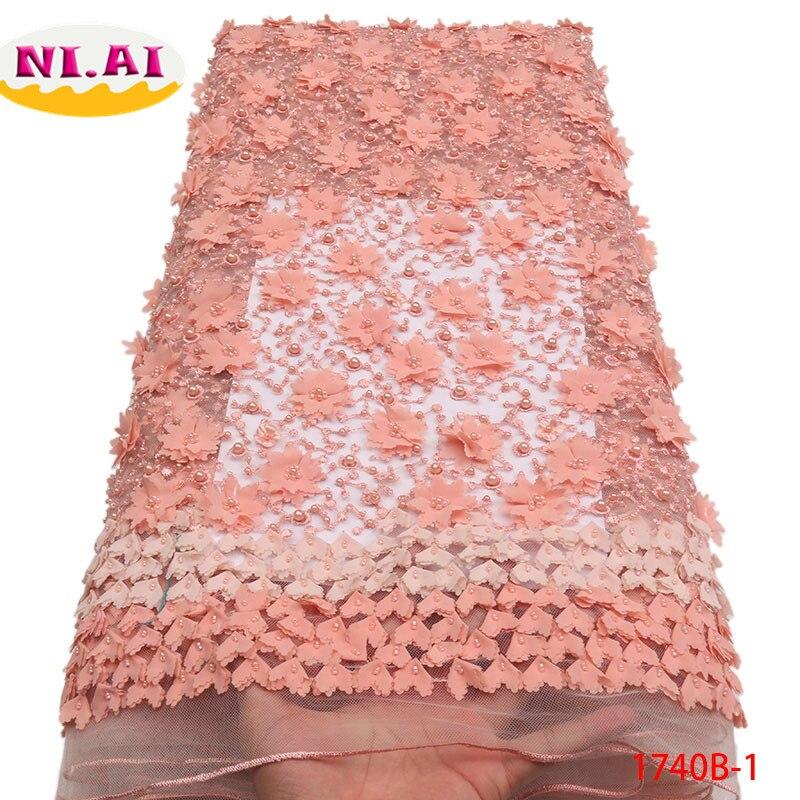 2018 qualité supérieure Nigeria Mariage tissu en dentelle de tissu en dentelle Avec Perlée Nigérian Tulle Maille Dentelle Pour robes de mariage NA1740B-1