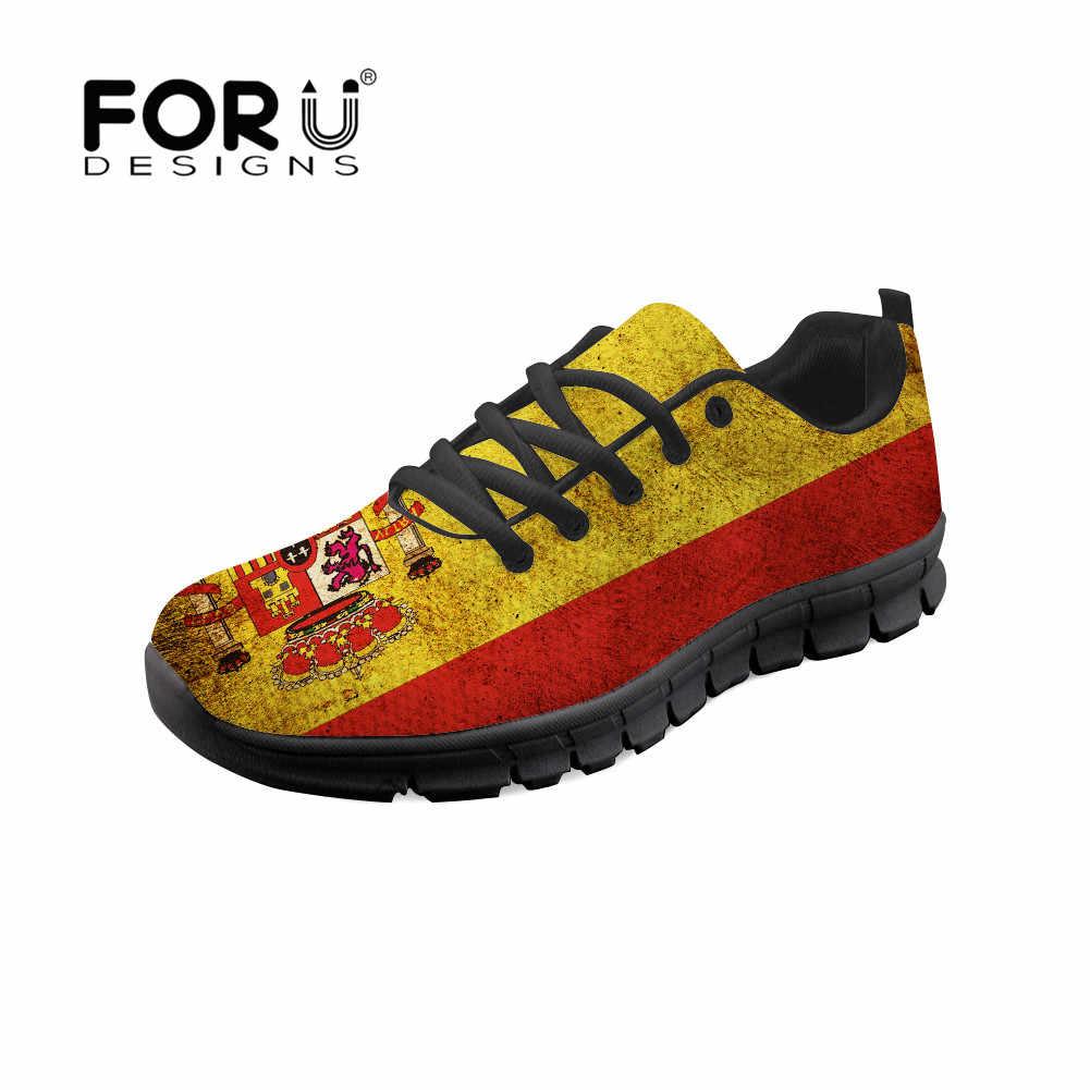 Forudesigns Đế Phẳng Thời Trang Cờ Tây Ban Nha In Mũi Tròn Thường Màu Đỏ Vàng Giày Sneakers Cột Dây Thoải Mái 2019