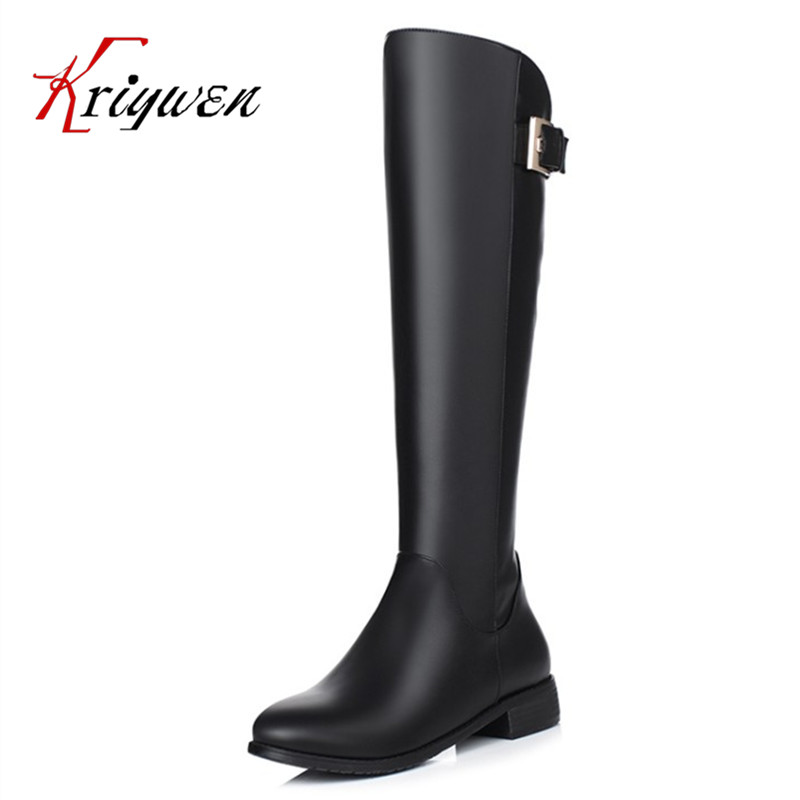big size 34-40 new arrive winter buckle metal decoration boots black knee high boots zipper fashion martin lady motorcycle boots цена и фото