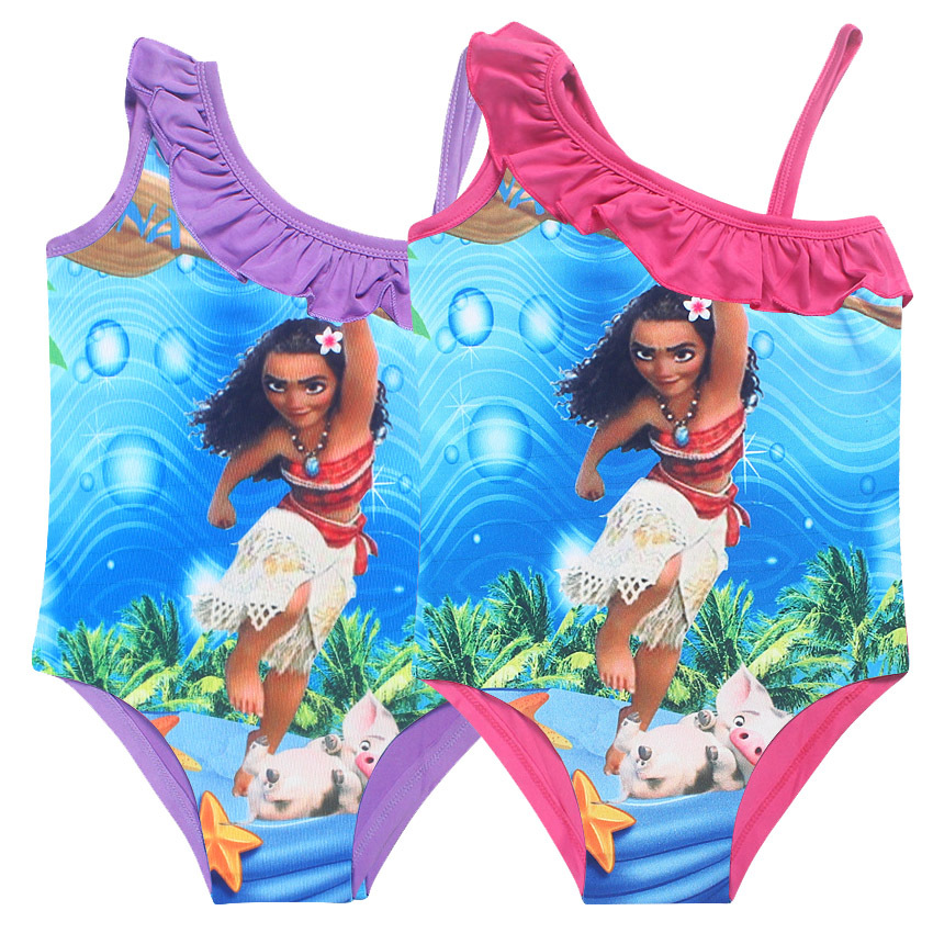 Cartoon Print MOANA Girl Children's Swimwear Ruffle Swimsuits Baby Girls' Bikini One Piece 3-10 Years Beach Wear Bathing Suits