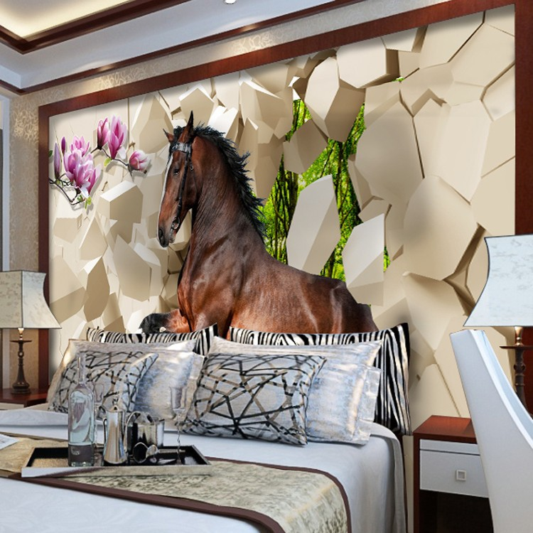 3D photo wallpaper galloping horse murals entrance bedroom living room sofa  TV background wall mural wall paper in Wallpapers from Home Improvement on. 3D photo wallpaper galloping horse murals entrance bedroom living