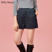 купить Nifty Neigo Corduroy Women Shorts Pocket Elastic Straight Bottoms Summer Shorts England Style Trousers Black Blue Apricot Shorts дешево