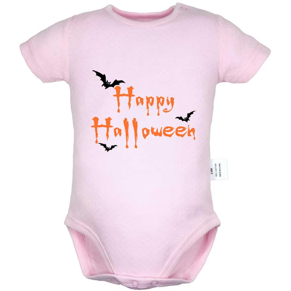 Счастливый Хэллоуин Черный Летучая мышь трюк или лечение бесплатно любовь сердце новорожденных мальчиков и девочек униформа-комбинезон печать младенческой Боди Одежда