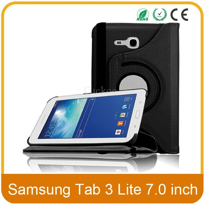 200Pcs/lot 360 Rotating PU Leather Case Cover For Samsung Galaxy Tab 3 Lite 7.0 T110 / T111