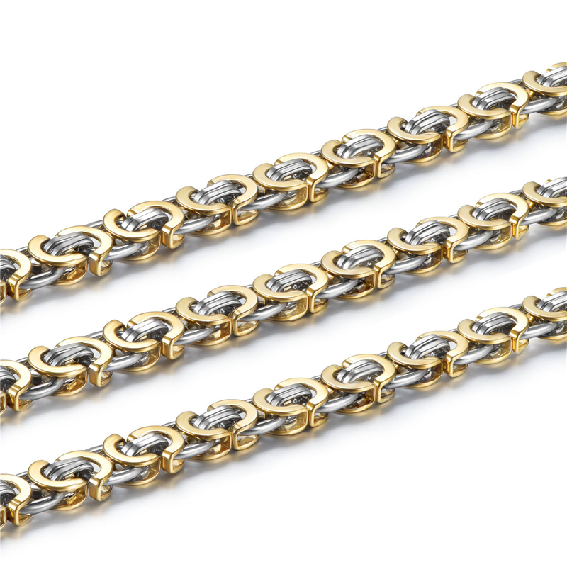 42c313640eed Personalizado cualquier longitud 9mm plata oro Bizantina de acero  inoxidable collar cadena para mujer para hombre joyería - a.dupa.me