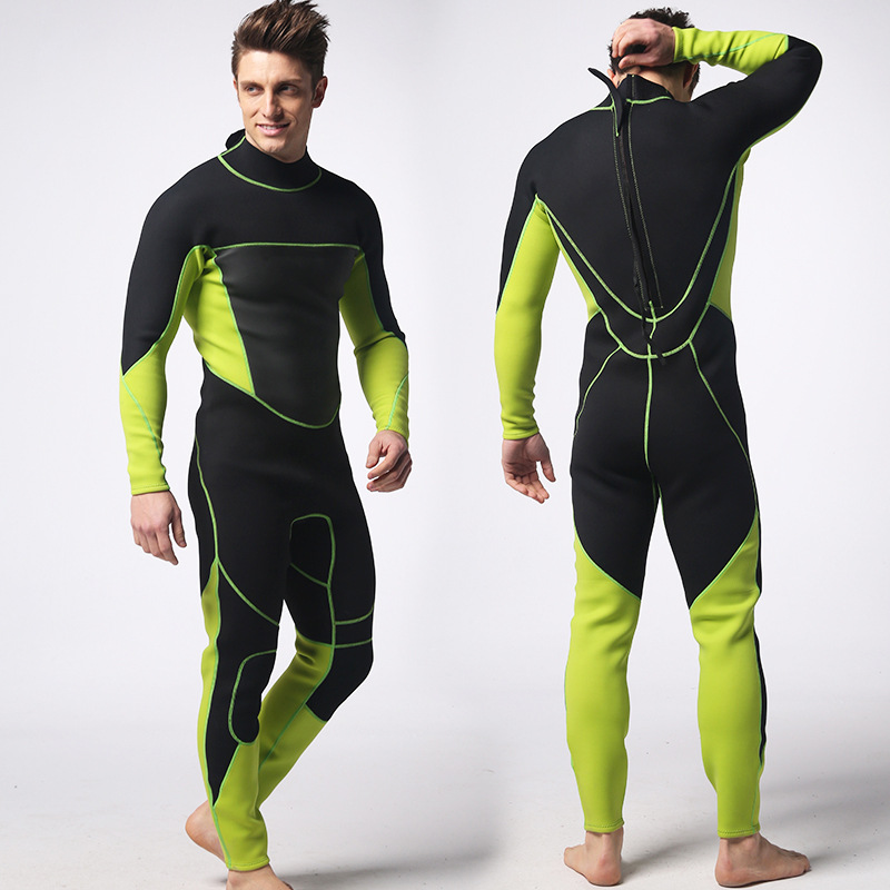 3mm Men's Green With Black Long Sleeve One Piece Neoprene Wetsuit Warm Waterproof Surfing Suit Diving Suit Size S-XXL fashion long sleeves surfing suit black grey size xl page 2