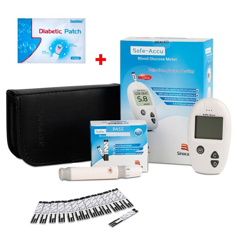 Safe Accu Blood Glucose Meter Diabetic With 50pcs Test Strips Lancet Needles 24pcs Diabetic Patch Stabilizes