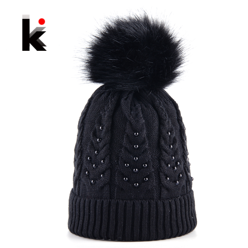 Winter Female Knitted Beanies Hat For Girls Pearl Knitting Wool Imitation Fur Ball PomPoms Skullies Cap Women Solid Touca Bonnet