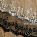 5Yards /lot DIY White/Black lace fabric embroidery music note lace trim mesh for dress width 10cm-LADY