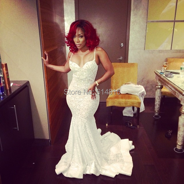 Aliexpress.com : Buy Attractive White Lace Mermaid Long Prom ...