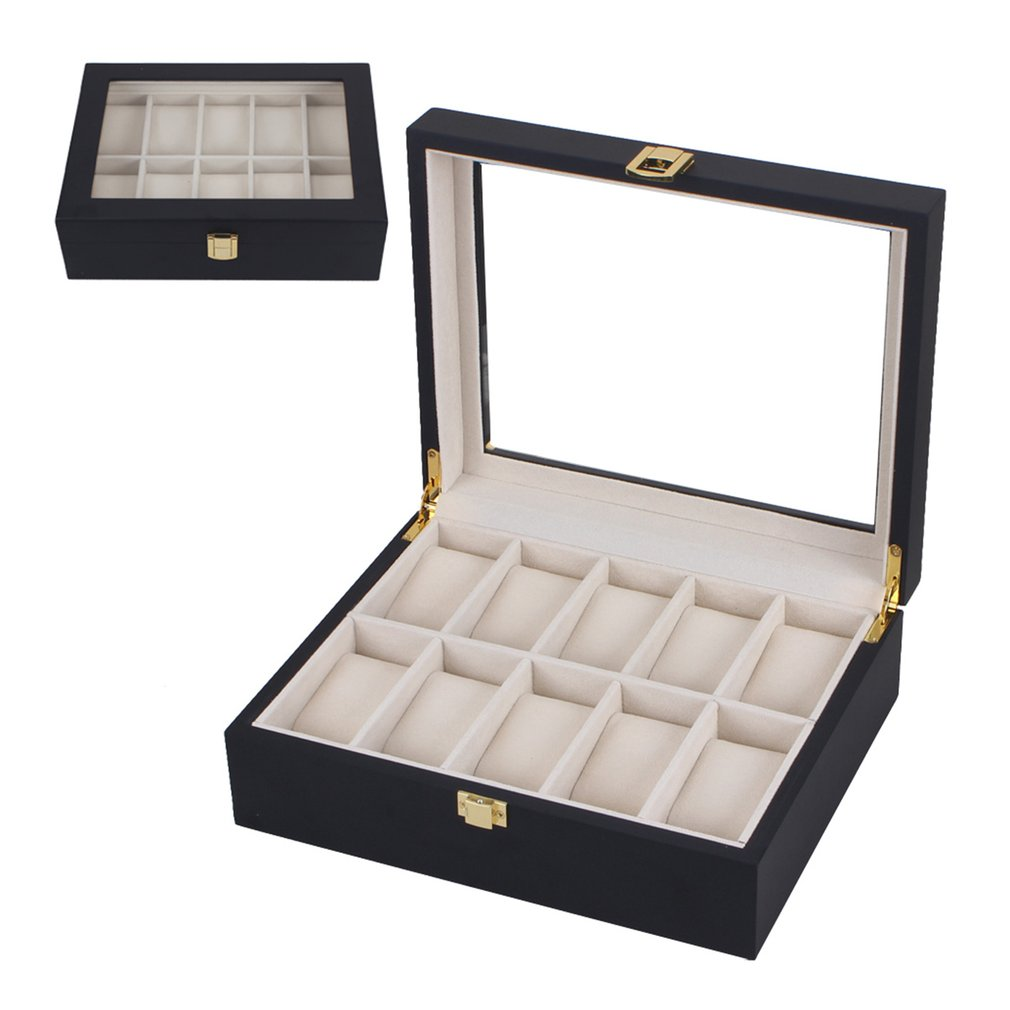 OUTAD 10 Slots Black Wooden Watches Box Casket Diy Jewelry Organizer Holder Storage Display Case Stand Rack Showcase Gift New 49 golf ball display case cabinet holder rack w uv protection