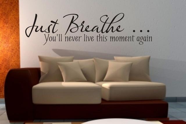 Just Breathe wall art sticker quote Living room / Bedroom / Hallway ...