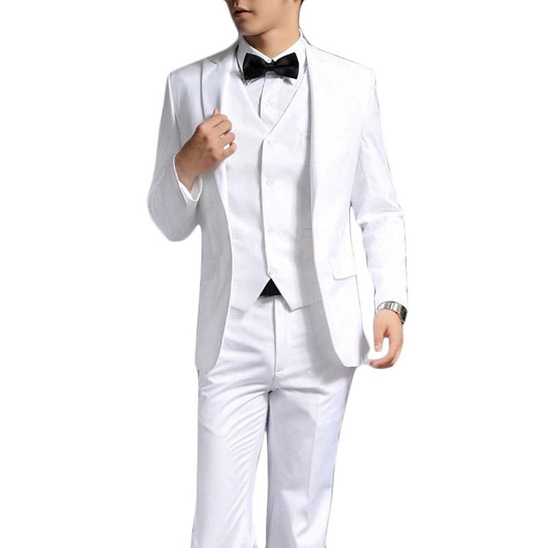 Custom made Groom Tuxedos palace white Best man wedding dress summer men  suit formal prom professional(Jacket+Pants+vest+Tie) 30a5e0637