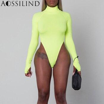 AOSSILIND الخريف الفلورسنت الأخضر الياقة المدورة طويلة الأكمام ارتداءها النساء 2018 الشتاء Bodycon السروال القصير داخلية نحيف