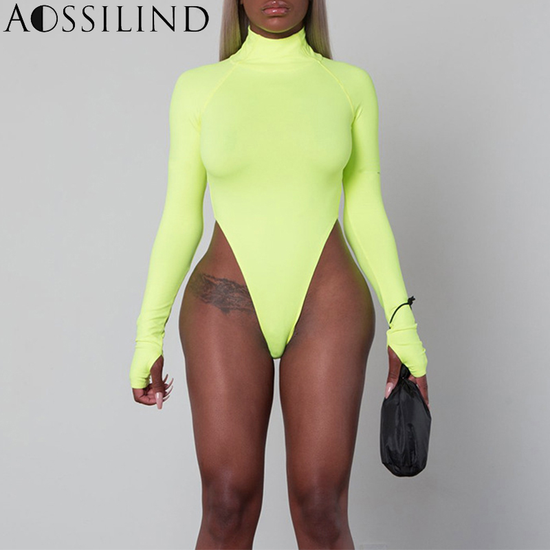 AOSSILIND Autumn Fluorescent Green Turtleneck Long Sleeve Bodysuit Women 2018 Winter Bodycon Rompers Skinny Bodysuits