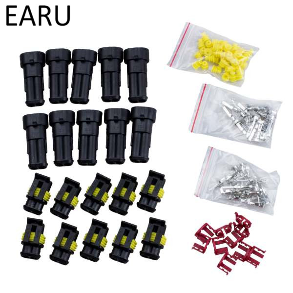 10 Sets Kit 2 Pin 2P Way Waterproof Electrical Wire Connector Plug for Car Auto Cable Eletronics Male Female Factory Quality цена и фото
