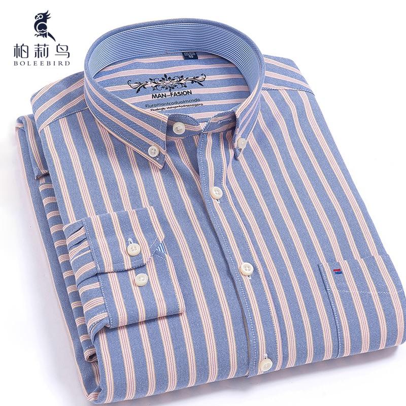 Hommes Boutonné de Plein Manches Rayé Oxford Chemise avec Gauche Poche Poitrine Qualité Mâle Tops Smart Casual Mince-fit Robe Chemises