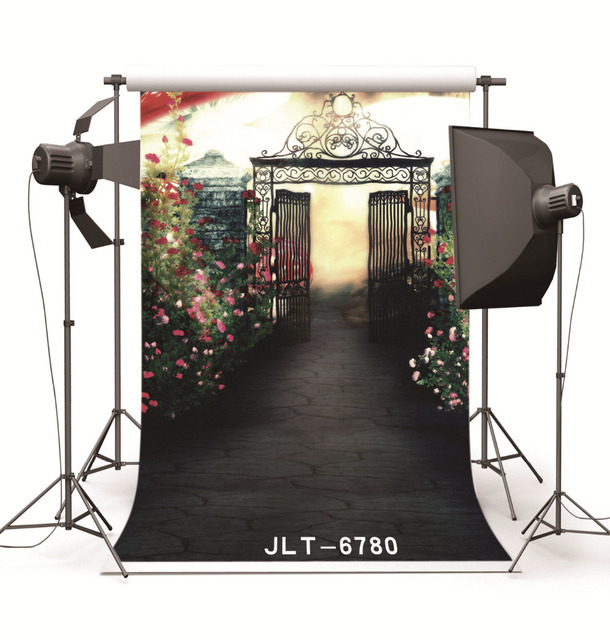 Fond Studio Photography Backdrops Prop Oil Painting Garden Gate Vinyl Photo  Backgrounds For Photo Studio For