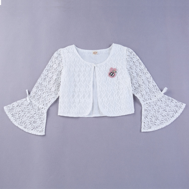 9810bbacea99 2018 Spring and Summer Girls White Lace Shawl Long Sleeve Thin Baby ...
