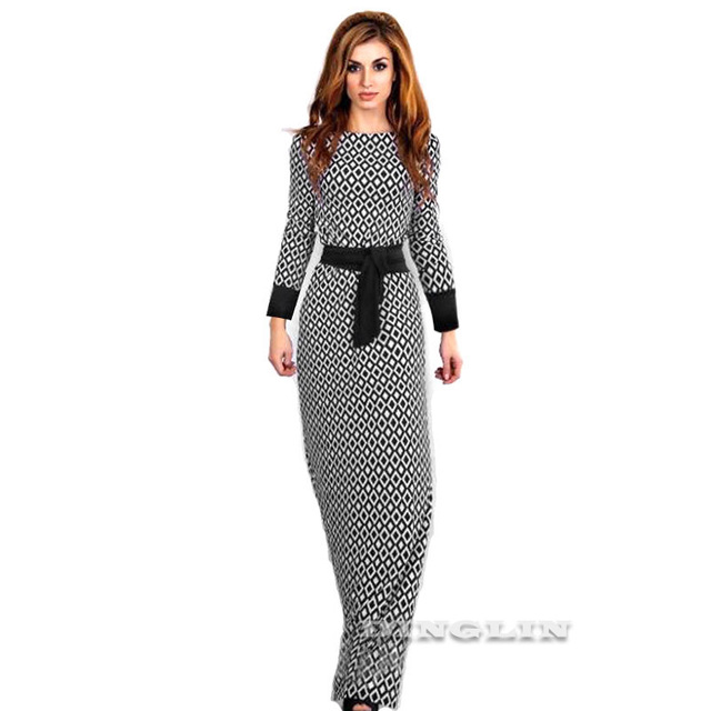 GZDL Casual Women Autumn Winter Long Sleeve Dress O Neck Geometric Sashes Fashion Flare Ladies Long Maxi Dresses Vestido CL3061
