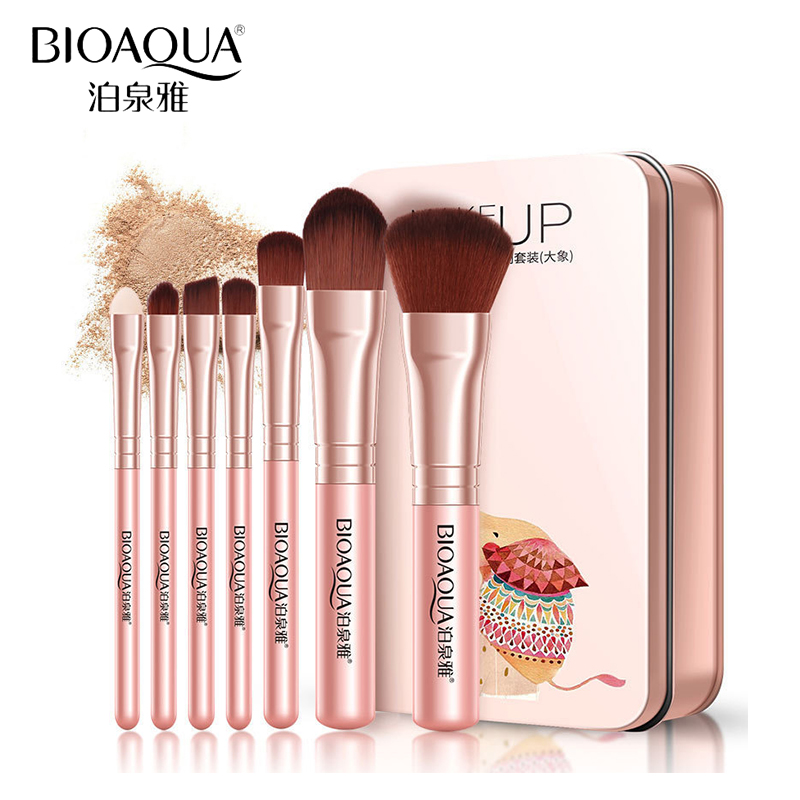 BIOAQUA Brand 7pcs/Set Makeup Brushes Eye Lip Face Foundation Powder Make Up Brush Kit Soft Fiber Hair Cosmetics Tools With Box 7pcs makeup brush set professional face eye shadow eyeliner foundation blush lip make up brushes powder liquid cream cosmetics