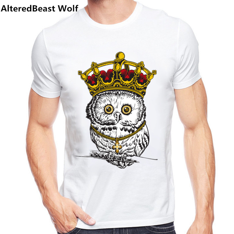 High Quality 2017 T-Shirt Men Brand Owl king T Shirts Men Sexy O Neck Mens T Shirts Mens T-Shirt Camisa Slim Fit TShirts homme