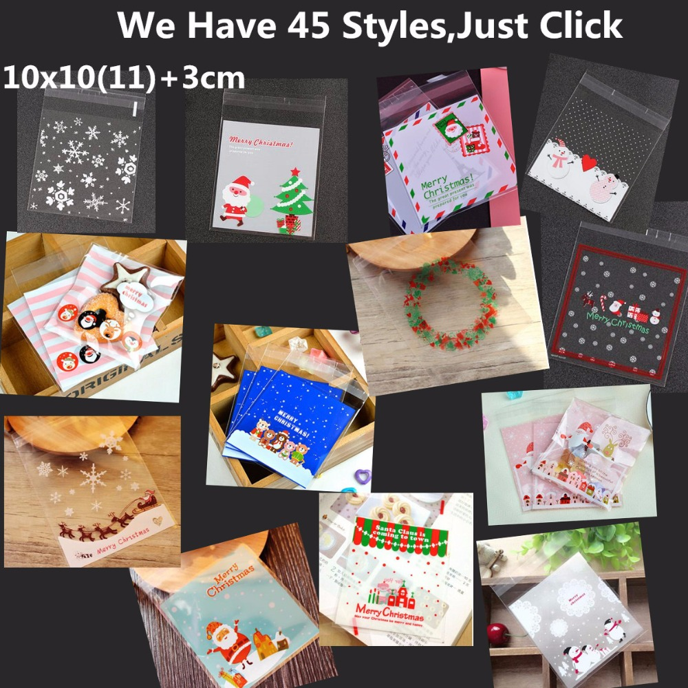 100pc Merry Christmas Hello Kitty Plastic Bags Cookie Packaging Bag 10x10cm Self  Adhesive Bags Free Shipping USD100 For DHL-in Gift Bags   Wrapping Supplies  ... 363707a440dda