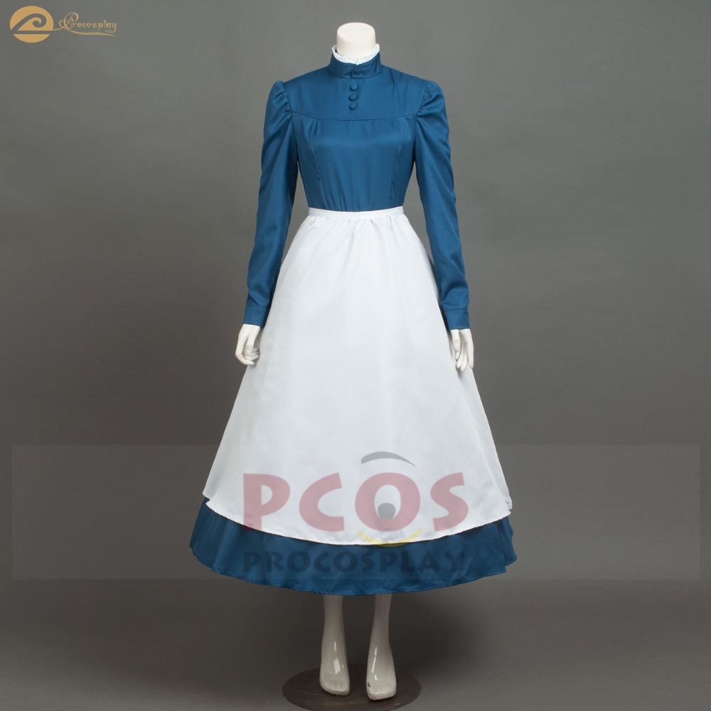 Howl's Moving Castle cosplay costume Cleaning lady cosplay costume Sophie hatter blue cosplay costume mp004181