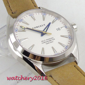 Image 3 - 41mm Corgeut White Dial Stainless steel Case Sapphire Glass Blue Hand Miyota Automatic Movement mens Watch