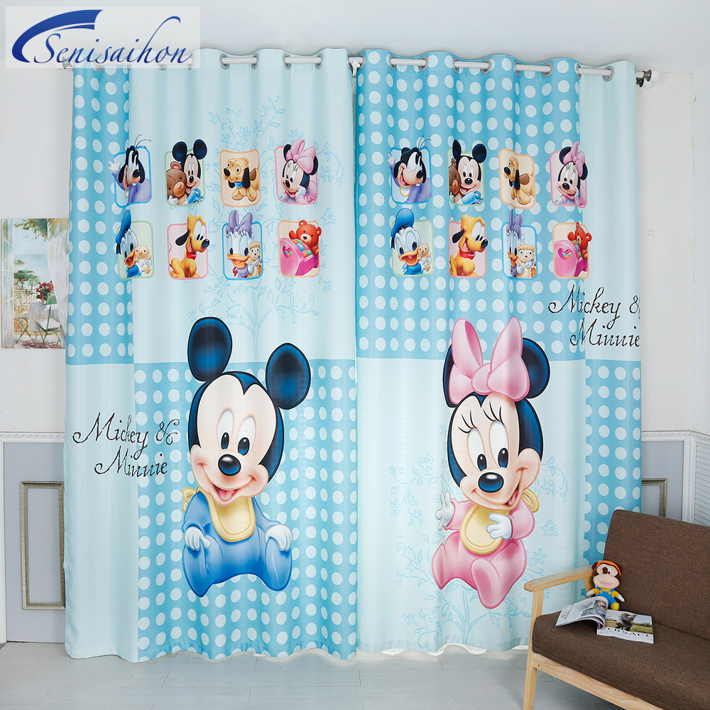 curtains blue mickey mouse pattern thickened bedroom children curtain